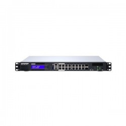 QGD-1600P-4G-US QNAP 16-port 1GbE Switch with 2 RJ45 and SFP+ Combo Port with Intel Celeron Processor and 4GB RAM