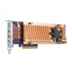 QM2-4P-384 QNAP Quad M.2 PCIe SSD expansion card supports up to four M.2 2280 formfactor M.2 PCIe (Gen3 x4) SSDs PCIe Gen3 x8 host interface